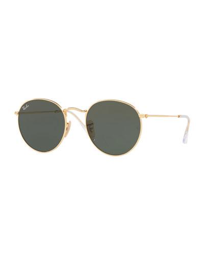 Monochromatic Round Metal Sunglasses  Green Pattern