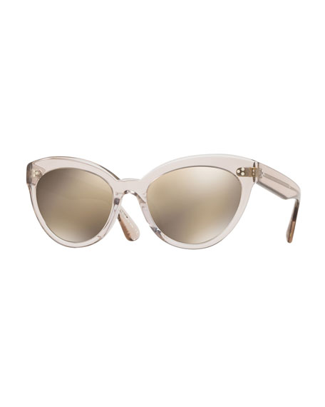 Roella Mirrored Translucent Plastic Cat-Eye Sunglasses