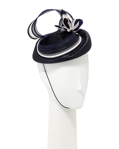 Fascinator w/ Stripe Bow & Feather Butterfly