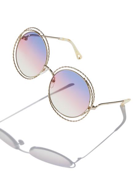 Carlina Round Concentric Metal Sunglasses