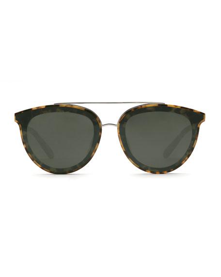 KREWE Clio Oval Acetate Sunglasses w/ Nylon Overlay Lenses