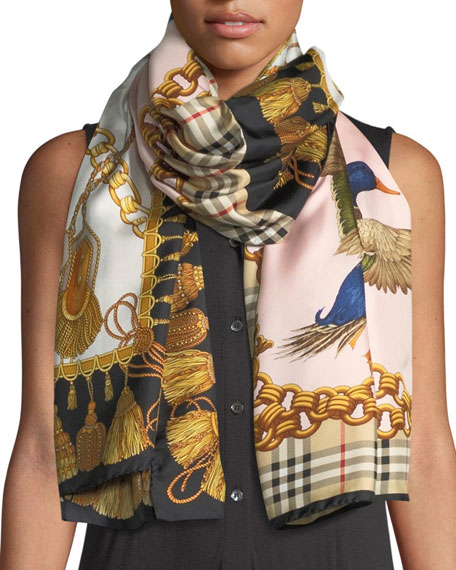 Burberry Archive & Chain Braid Print Silk Scarf