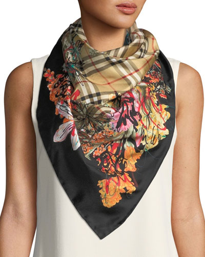 Scribble Floral Vintage Check Silk Square Scarf