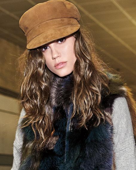 Janessa Leone Jimi Suede Newsboy Hat