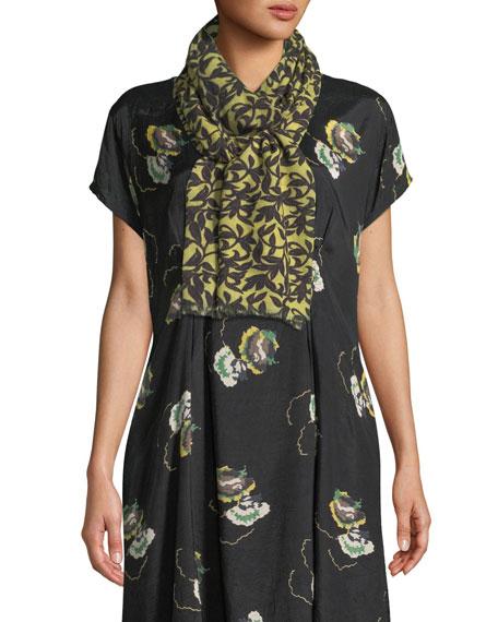 Adrienne Leaf-Print Wool Scarf