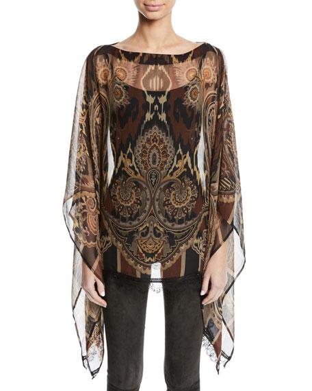 Damask-Print Sheer Silk Poncho w/ Lace Hem