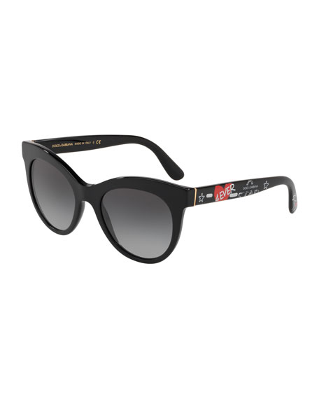 Dolce & Gabbana Oval Gradient Acetate Sunglasses w/ Printed Arms