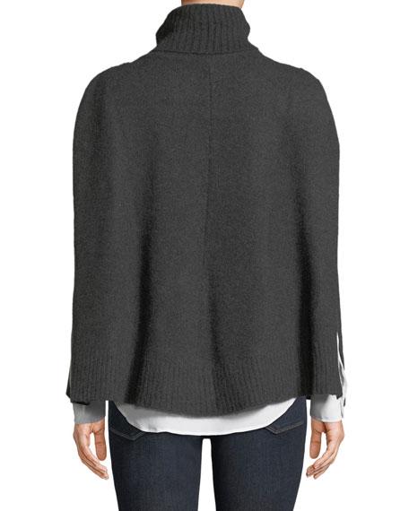 Carolyn Rowan Cashmere Turtleneck Poncho w/ Fur Pockets