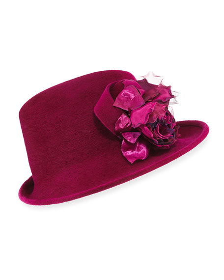 Philip Treacy Side Sweep Velour Hat w/ Rosette