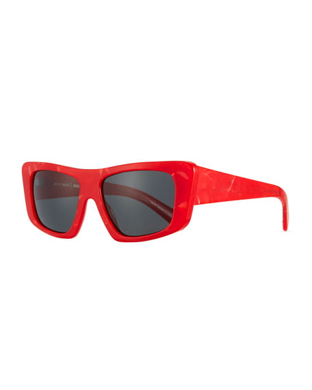 Alain Mikli Rectangle Monochromatic Acetate Sunglasses