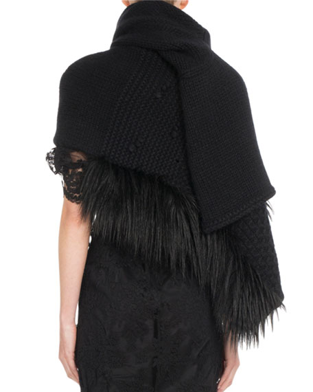 Patchwork Knit Scarf w/ Faux-Fur