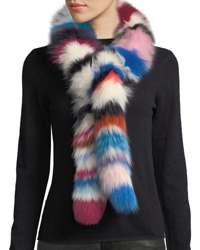 Chunky Monkey Multicolored Fur Scarf