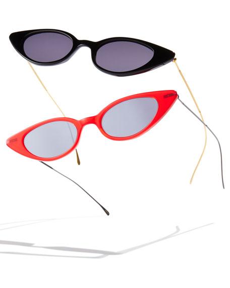 Illesteva Marianne Cat-Eye Acetate & Steel Sunglasses