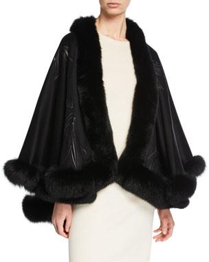 bc942f336b7 Sofia Cashmere Fox Fur-Trimmed Embroidered Cashmere U-Cape