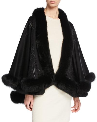 Fox Fur-Trimmed Embroidered Cashmere U-Cape