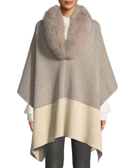 SOFIA CASHMERE Furs FUR-COLOR COLORBLOCK PONCHO