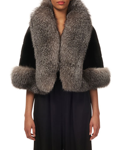 Plucked Mink-Fur Horizontal Capelet w/ Fox-Fur Tuxedo Trim