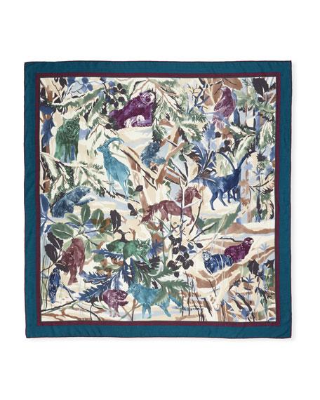 Loro Piana Cashmere-Silk Forest-Print Scarf