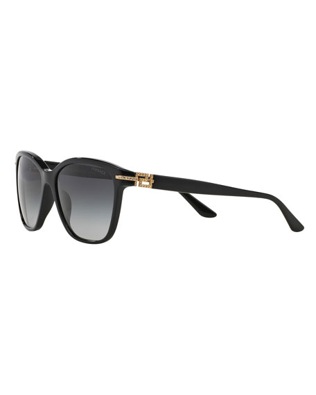 Versace Gradient Square Sunglasses w/ Crystal Trim