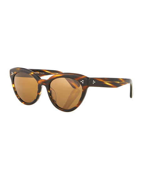 Image 1 of 3: Oliver Peoples Roella Cellulose Acetate Cat-Eye Sunglasses