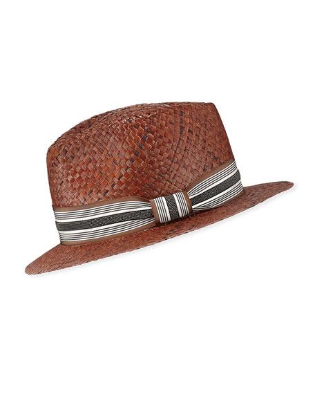 Brunello Cucinelli Straw Fedora Hat with Grosgrain Band