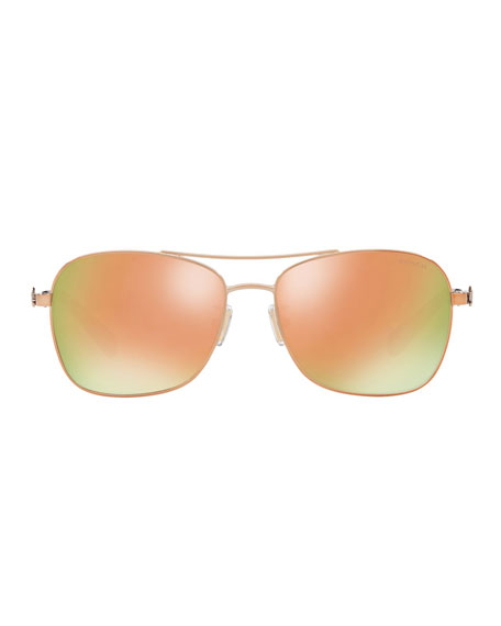 Coach Mirrored Metal Aviator Sunglasses w/ 3D Stagecoach Detail