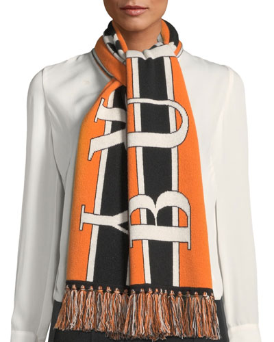 Football Text Logo Cashmere Knitted Scarf