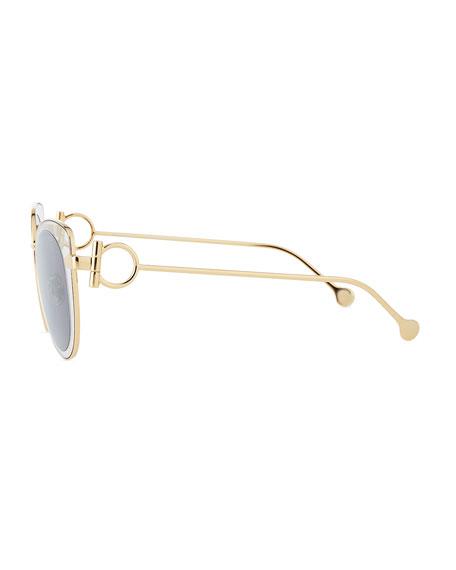 Salvatore Ferragamo Gancio Cat-Eye Metal Sunglasses