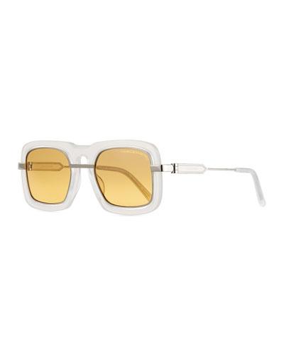 Mirrored Square Plastic & Metal Sunglasses