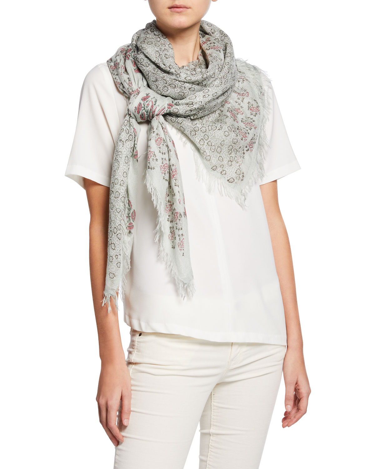 Acacia Floral Patchwork Scarf by Mangrove