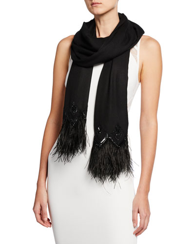 Feather-Border Cashmere Scarf