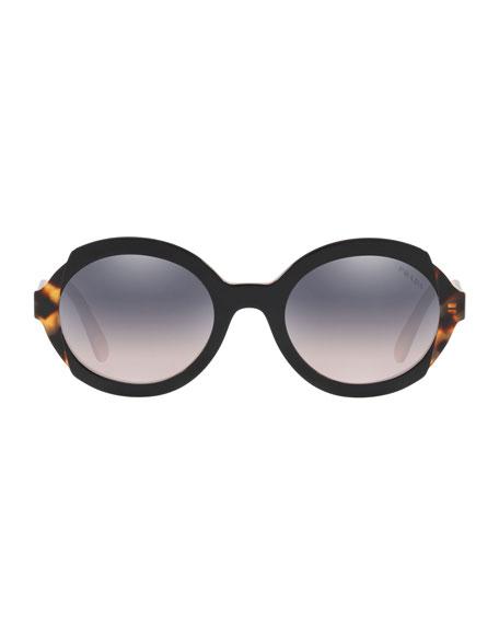 Prada Round Mirrored Mixed Acetate Sunglasses