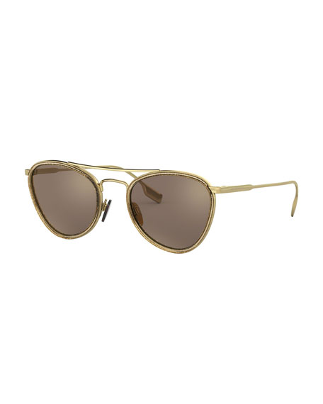 Burberry Mirrored Glittered Metal Aviator Sunglasses
