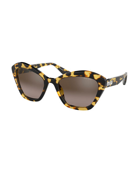 Miu Miu Mirrored Acetate Rectangle Sunglasses
