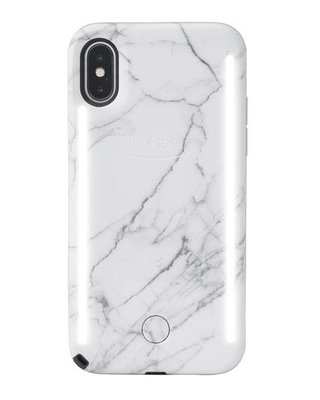 LuMee iPhone X Duo Photo-Lighting Case, White Marble V2