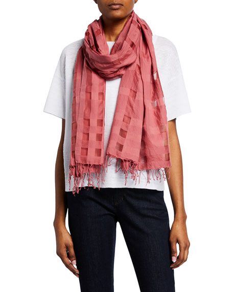 Eileen Fisher Organic Cotton/Silk Check Scarf