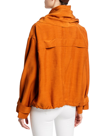 3.1 Phillip Lim Sateen Short Jacket with Removable Scarf