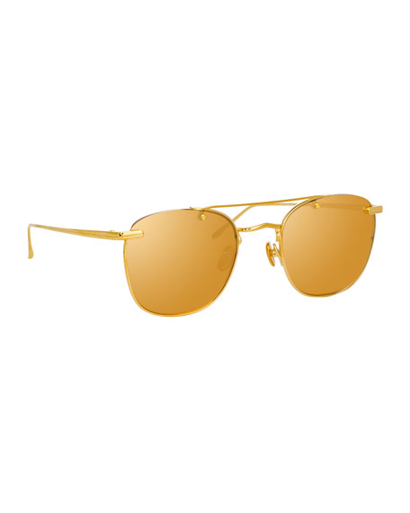 Linda Farrow Semi-Rimless Square Mirrored Titanium Sunglasses