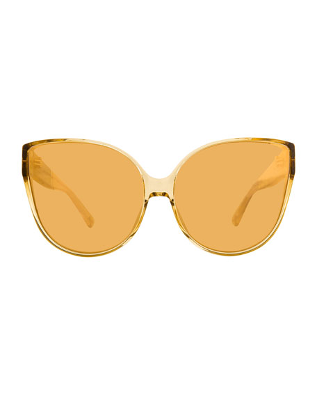 Linda Farrow Semitransparent Acetate Mirrored Cat-Eye Sunglasses