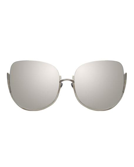 Linda Farrow Semi-Rimless Mirrored Butterfly Sunglasses