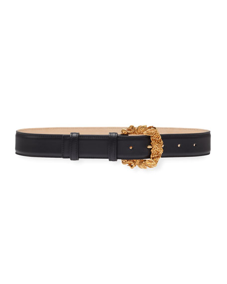 Versace Collection Leather Baroque-Buckle Belt