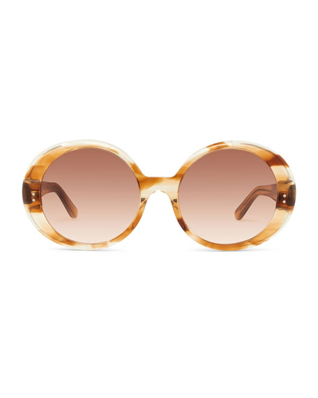 Celine Round Gradient Chunky Acetate Sunglasses