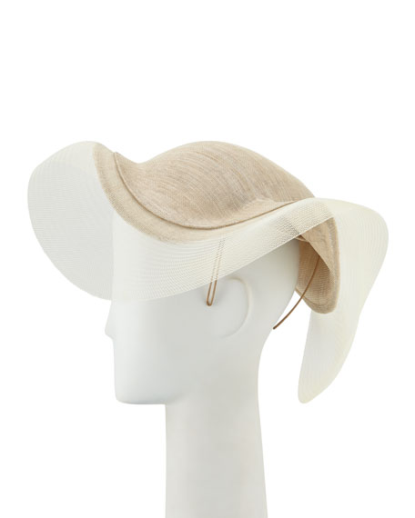 Philip Treacy Sweeping Wave Hat w/ Crin Edge