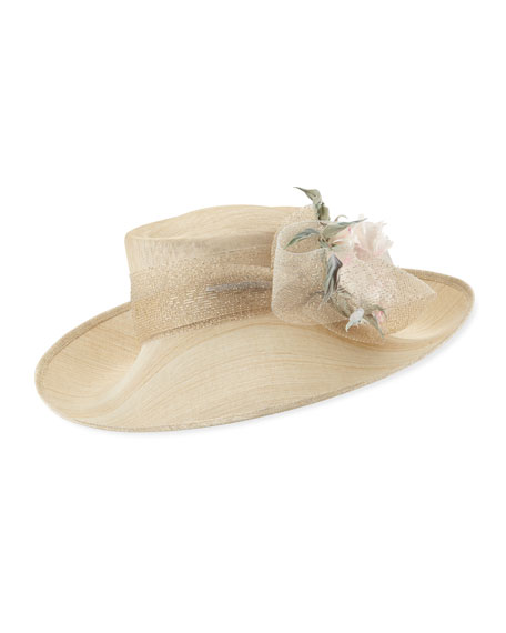 Philip Treacy Deep Upturn Derby Hat w/ Flower Detail