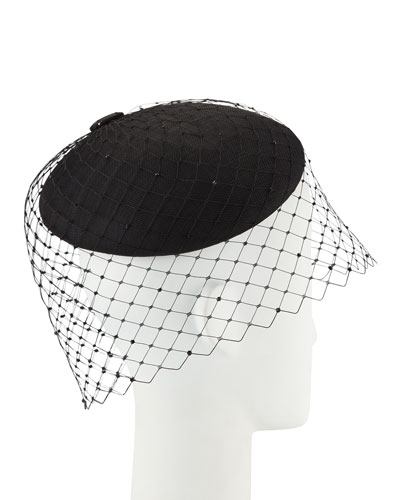 Straw Beret w/ Crystal Studded Widow Veiling