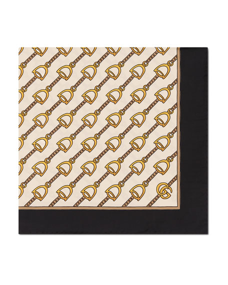 Gucci Silk Twill Stirrups Print Scarf