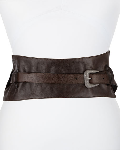 Brunello Cucinelli Leather Corset Belt with Diamante Buckle