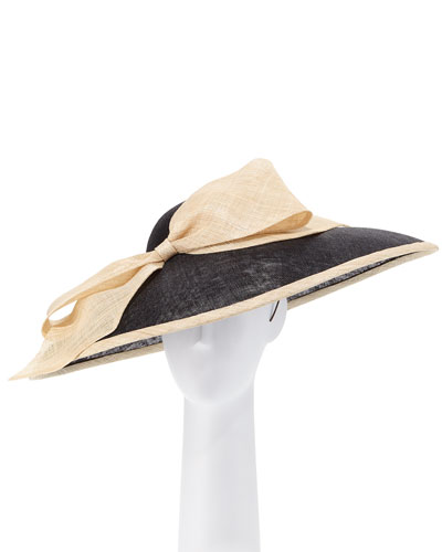 Two-Tone Natural Straw Derby Hat