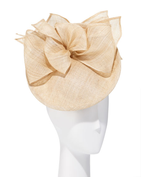 Rachel Trevor Morgan Structured Disc & Bows Natural Straw Hat