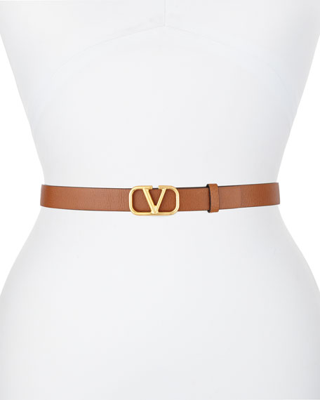 Valentino Go Logo 20mm Leather Belt